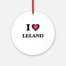I love Leland Round Ornament