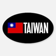 Taiwan: Taiwanese Flag & Taiwan Sticker (Oval)