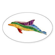 Rainbow Dolphin Oval Decal