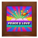 Psychedelic Peace & Love Framed Tile