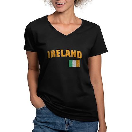 Vintage Ireland Soccer Women's V-Neck Dark T-Shirt