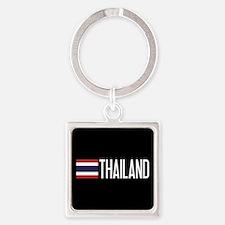 Thailand: Thai Flag & Thailand Square Keychain