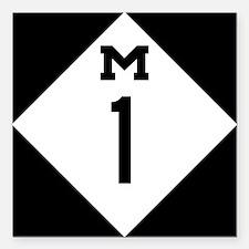 "Michigan M1 Woodward Ave Square Car Magnet 3"" x 3"""