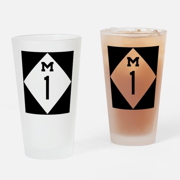 Michigan M1 Woodward Ave Drinking Glass