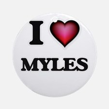 I love Myles Round Ornament