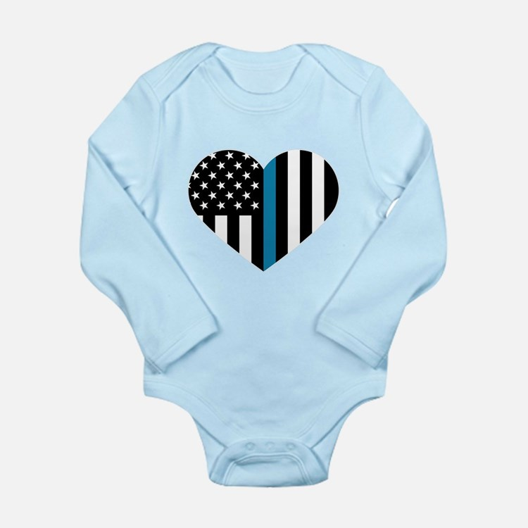 Thin Blue Line American Flag Heart Body Suit