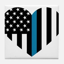 Thin Blue Line American Flag Heart Tile Coaster