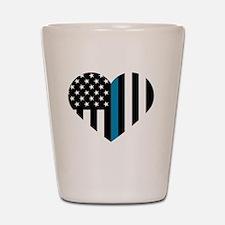 Thin Blue Line American Flag Heart Shot Glass