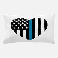 Thin Blue Line American Flag Heart Pillow Case