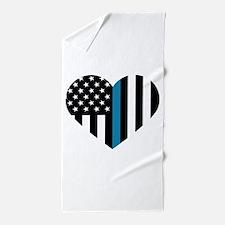 Thin Blue Line American Flag Heart Beach Towel
