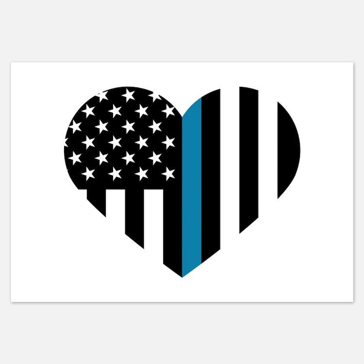 Thin Blue Line American Flag Heart Invitations