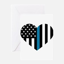 Thin Blue Line American Flag Heart Greeting Cards
