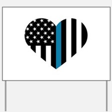 Thin Blue Line American Flag Heart Yard Sign