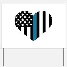 Thin Blue Line American Flag Heart Yard Sign