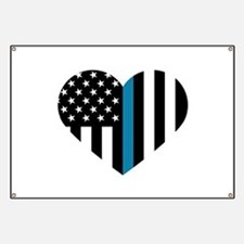 Thin Blue Line American Flag Heart Banner