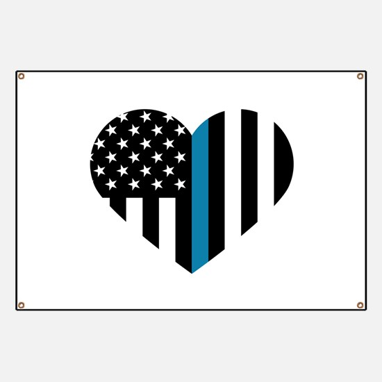 Thin Blue Line American Flag Heart Banner