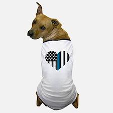 Thin Blue Line American Flag Heart Dog T-Shirt