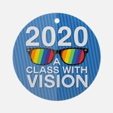 2020 A Class With Vision, Rainbow Round Ornament