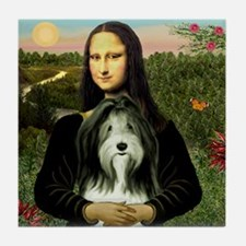 Mona Lisa & Beardie #9 Tile Coaster