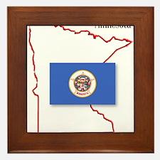 Minnesota State Map and Flag Framed Tile