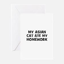 My Asian Cat Ate My Homework Greeting Cards (Pk of