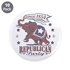 "Retro Republican Elephant 3.5"" Button (10 pack)"