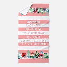Romantic Pink Watercolor Chic Floral P Beach Towel
