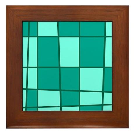 Aqua Grid Framed Tile