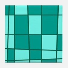 Aqua Grid Tile Coaster