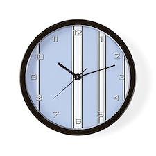 Silver Blue Stripes Wall Clock
