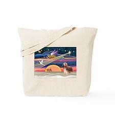 Xmas Star & Beardie(brn) Tote Bag