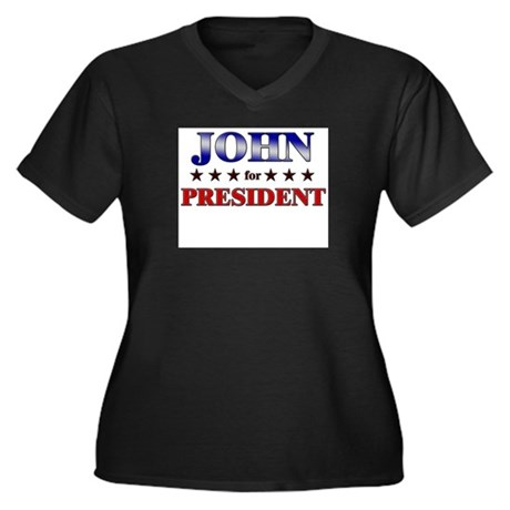 JOHN for president Women's Plus Size V-Neck Dark T
