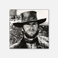 "Clint Eastwood Black and Wh Square Sticker 3"" x 3"""