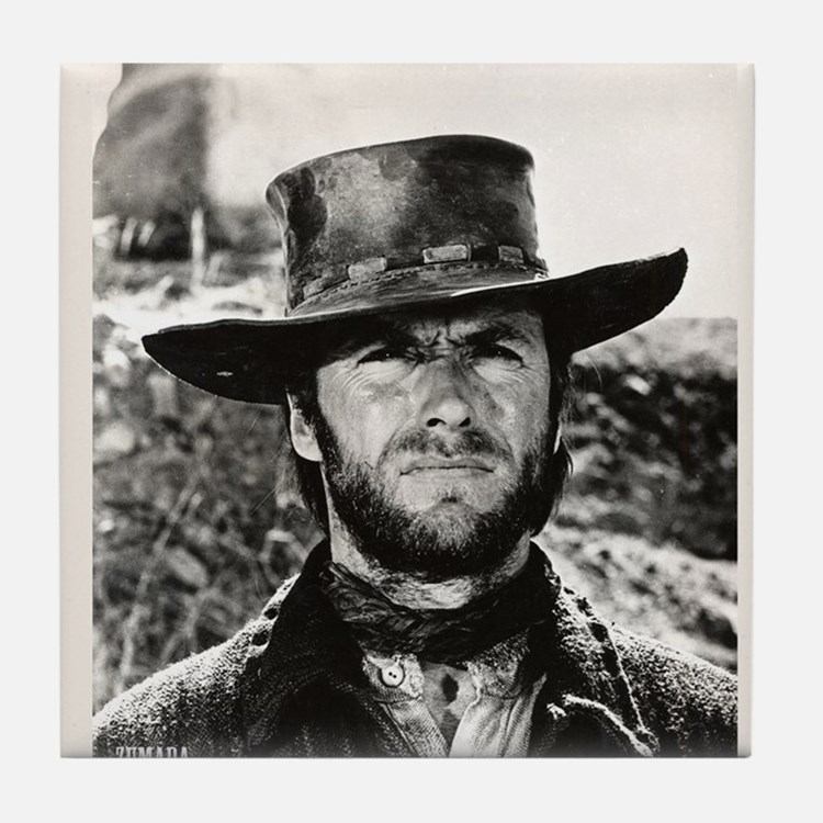 Clint Eastwood Black and White Tile Coaster