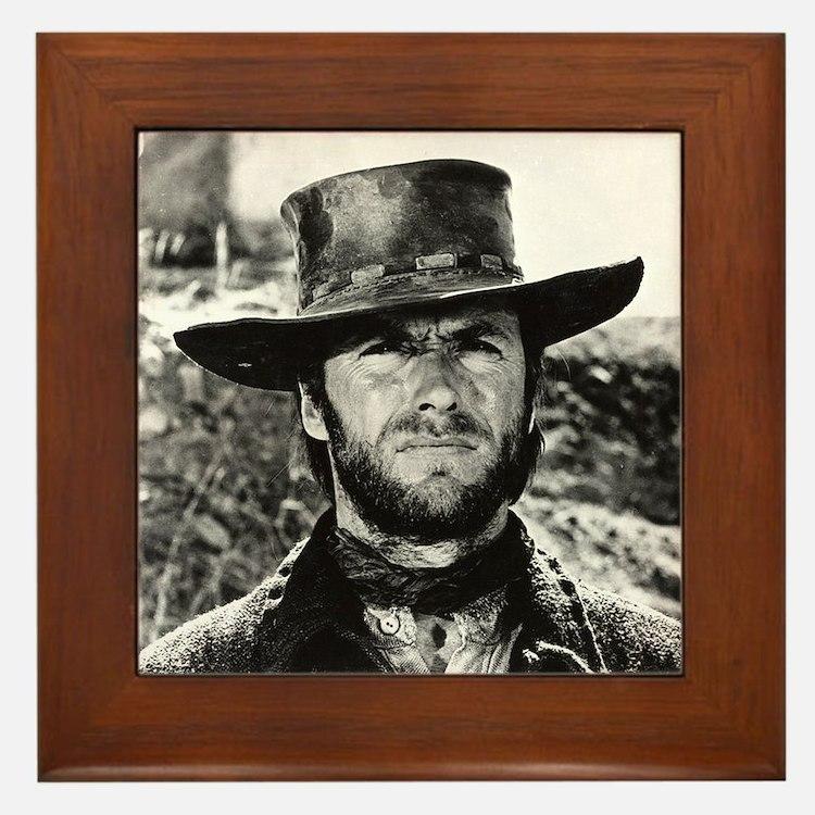 Clint Eastwood Black and White Framed Tile
