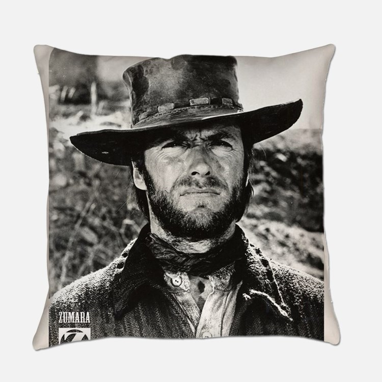Clint Eastwood Black and White Everyday Pillow