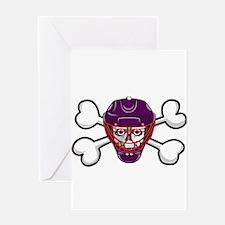 Hockey Skull & Crossbones Greeting Card