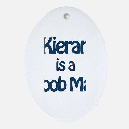 Kieran is a Boob Man Oval Ornament