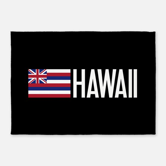 Hawaii: Hawaiin Flag & Hawaii 5'x7'Area Rug