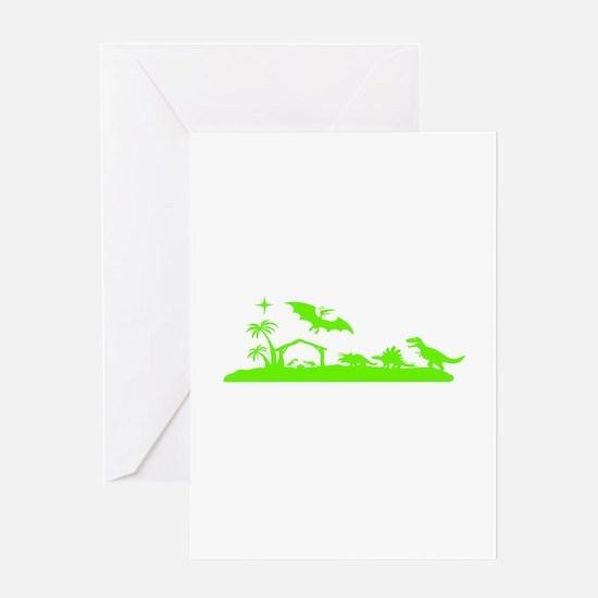 Dinosaur nativity Christmas Greeting Cards