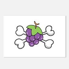 Purple Grapes & Crossbones Postcards (Package of 8