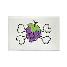 Purple Grapes & Crossbones Rectangle Magnet