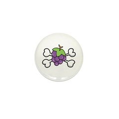 Purple Grapes & Crossbones Mini Button (10 pack)