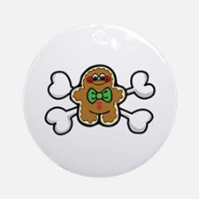 Gingerbread Man & Crossbones Ornament (Round)