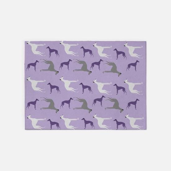 Greyhounds on Purple 5'x7'Area Rug