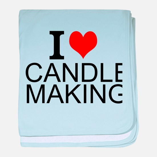 I Love Candle Making baby blanket