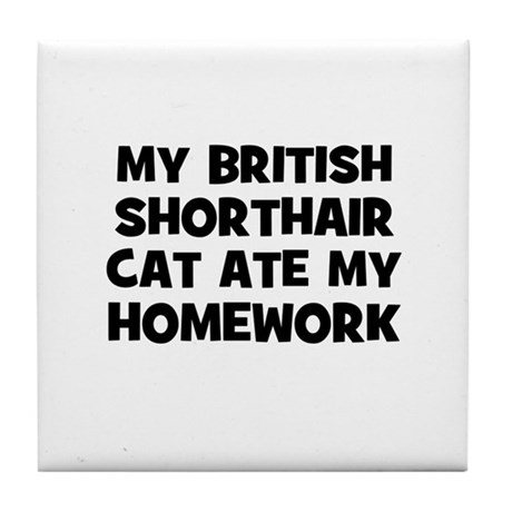 My British Shorthair Cat Ate Tile Coaster