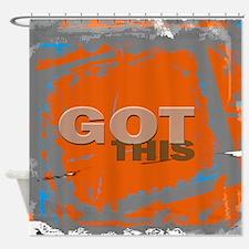 GOT THIS Orange Blue Gray Shower Curtain