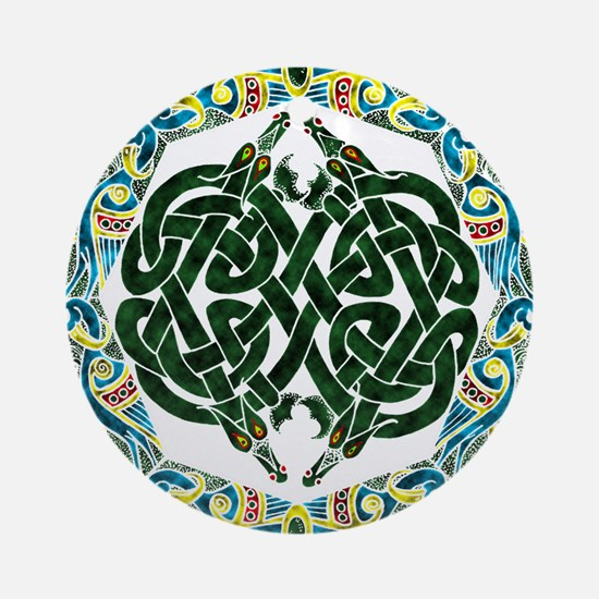 Celtic Dragons and Birds Round Ornament
