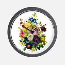 Redoute Summer Rose Bouquet Wall Clock